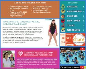 Camp Shane Website Screenshot